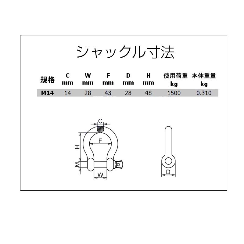 ステンレスボウシャックル(弓シャックル)M14 寸法表