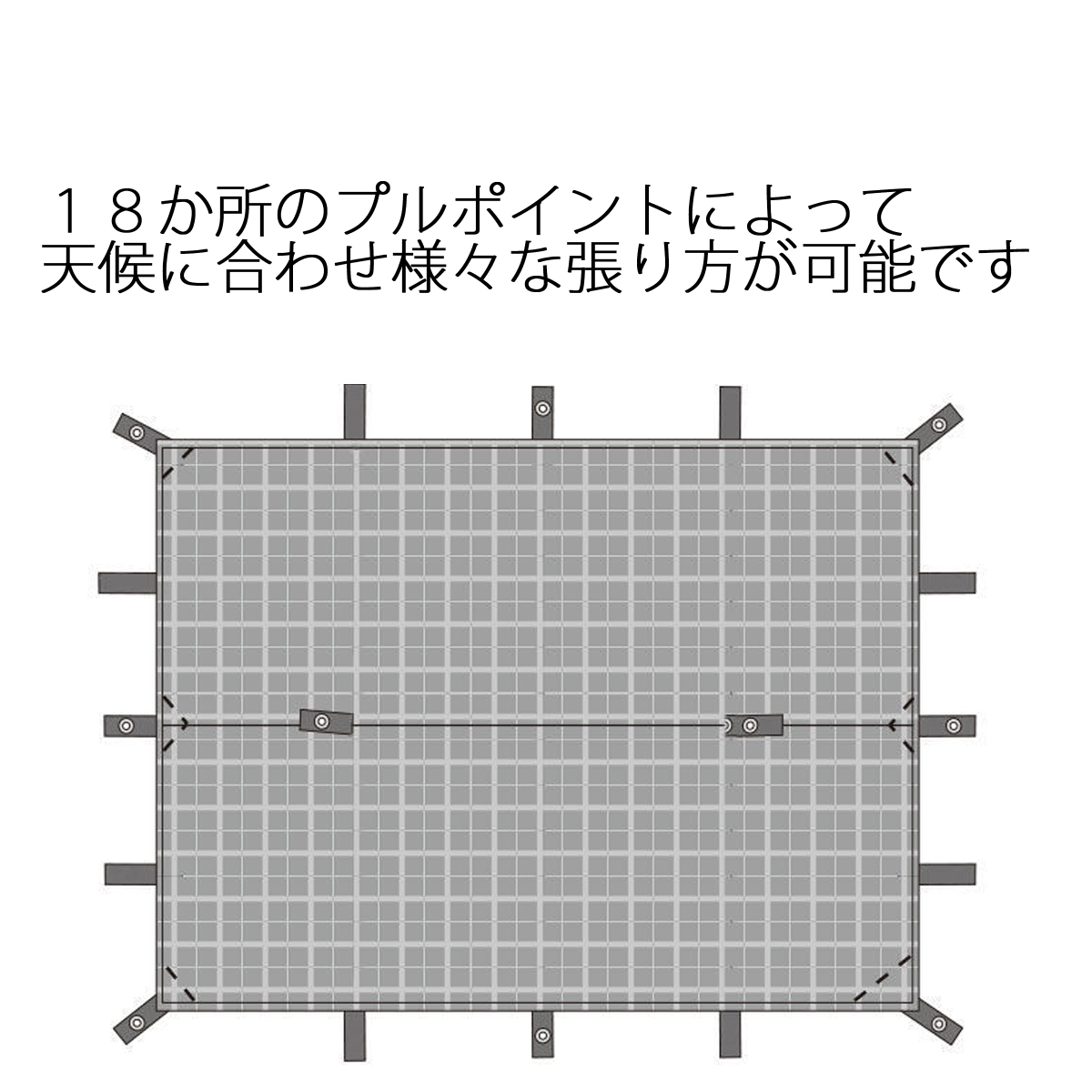 多用途 レクタタープ グロメット18箇所