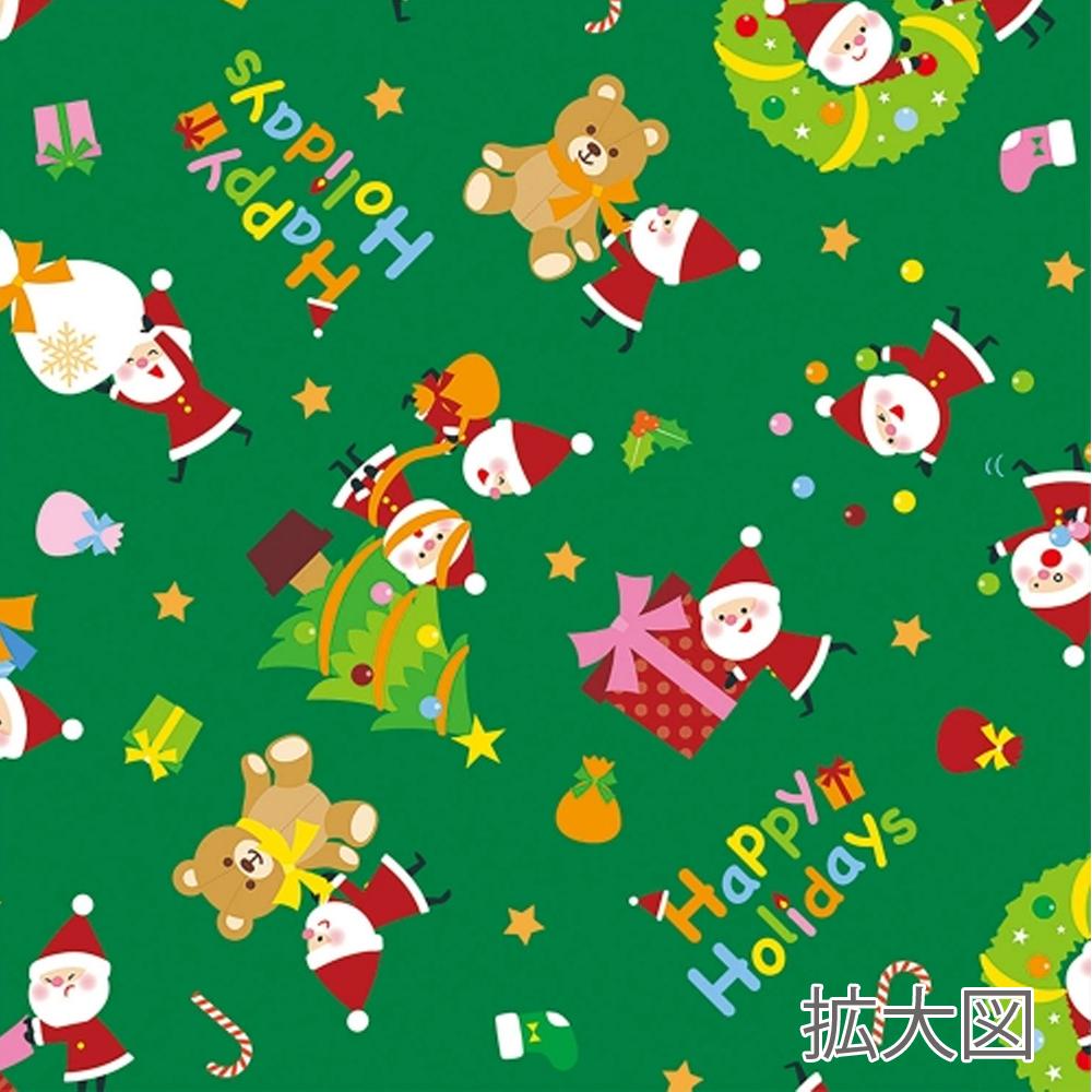 クリスマス包装紙 グリーン 拡大