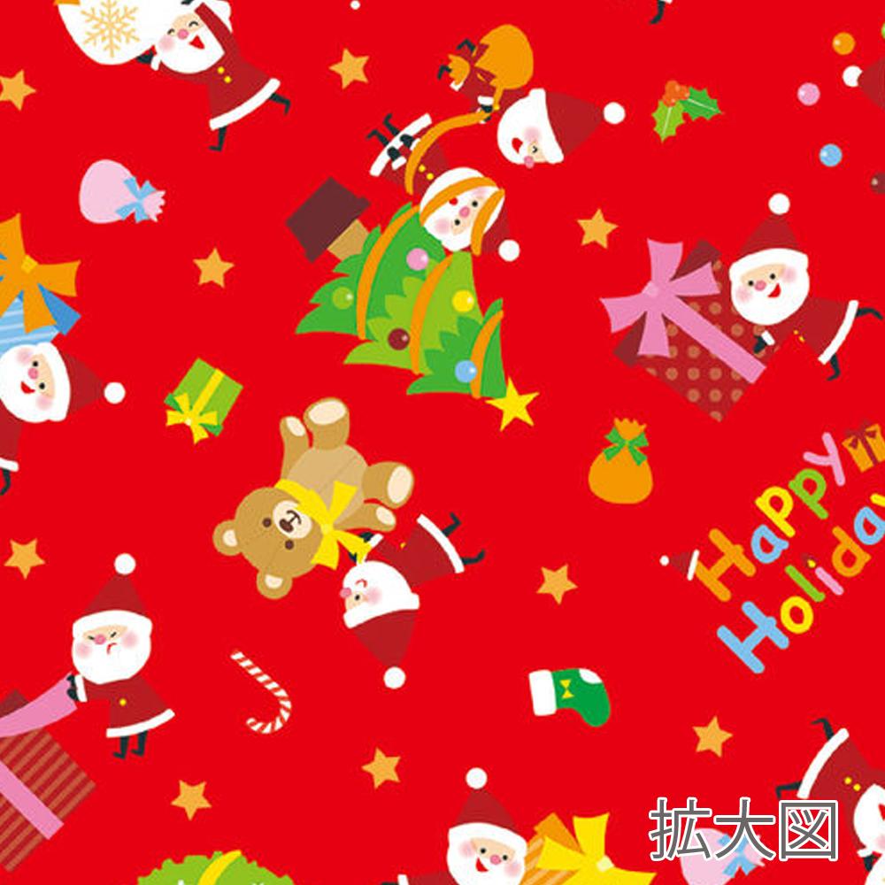 クリスマス包装紙 レッド 拡大